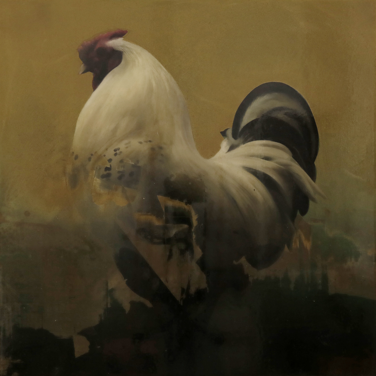 COCKFIGHTER . 69X69 CM. TÉCNICA MIXTA -MADERA. 2019